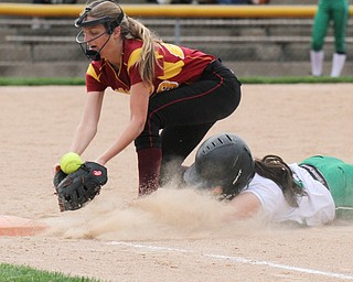 William D. Lewis The Vindicator  WB's Delaney Rito(22) gets back to 1 rst safe as Mooney's LAuren Frommelt (23) bobbles the catch during 4-19-17 action at Fields of Dreams.
