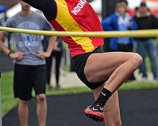 POLAND, OHIO - APRIL 29, 2017: Mooney's Autumn Desantis jumps in an attempt to clear the bar during the girl's high jump, Saturday morning during the Poland Invitational at Poland High School. DAVID DERMER | THE VINDICATOR