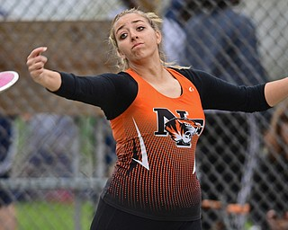 POLAND, OHIO - APRIL 29, 2017: Newton Falls Kayla Barreca throws during the girls discus throw, Saturday morning during the Poland Invitational at Poland High School. DAVID DERMER | THE VINDICATOR