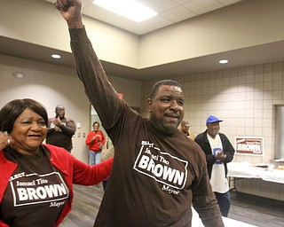 William D. Lewis the vindicator  Tito Brown and his mother Bernice Brown react to news he won mayoral primary. They at a  party at Jewish Community Center.
