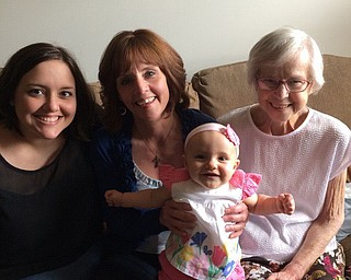 Celebrating Mother's Day for the last time as four generations in 2014 were  Sevasti Gedra, left, and her infant daughter, Emelia Gedra, both of Cortland, along with Sevasti's mother, Kaye Hadzigeorge of Warren, and her mother, Arlene Gibbs, now deceased, who had lived in Niles.