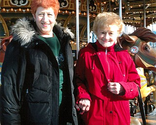 THE WINNER IS: Karen Jaroz, 65, of Boardman, and her mother, Betty Anzevino, 90, of Youngstown, made a trip to New York to ride Jane's Carousel, formerly the Idora Park Carousel.