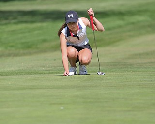 ROBERT K. YOSAY  | THE VINDICATOR..Greatest Golfer Junior at Squaw Creek Sat May 13..Kate Brown.. as she lines her ball up on the green on 9