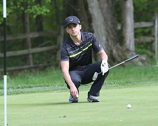 ROBERT K. YOSAY  | THE VINDICATOR..Greatest Golfer Junior at Squaw Creek Sat May 13..Cool calm  as he lines up his next putt is Jacob Snyder on 11