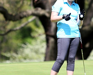 Emily Marcavish(U-17) holds up her ball after completing hole 4 during the 2017 Vindicator Greatest Golfer Junior Qualifier, Saturday, May 20, 2017 at Pine Lakes Golf Course in Hubbard...(Nikos Frazier   The Vindicator)..