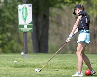 Victoria Messuri(U-17) tees off on hole 5 during the 2017 Vindicator Greatest Golfer Junior Qualifier, Saturday, May 20, 2017 at Pine Lakes Golf Course in Hubbard...(Nikos Frazier | The Vindicator)..