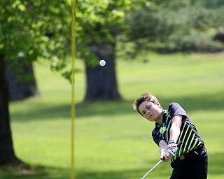 Gavin Pahanish(U-14) chips into the 4th hole during the 2017 Vindicator Greatest Golfer Junior Qualifier, Saturday, May 20, 2017 at Pine Lakes Golf Course in Hubbard...(Nikos Frazier   The Vindicator)..