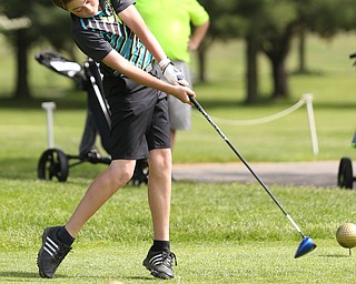 Gavin Pahanish(U-14) drives on the 5th hole during the 2017 Vindicator Greatest Golfer Junior Qualifier, Saturday, May 20, 2017 at Pine Lakes Golf Course in Hubbard...(Nikos Frazier   The Vindicator)..