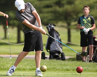 Benjamin Martin(U-14) drives on the 5th hole during the 2017 Vindicator Greatest Golfer Junior Qualifier, Saturday, May 20, 2017 at Pine Lakes Golf Course in Hubbard...(Nikos Frazier   The Vindicator)..