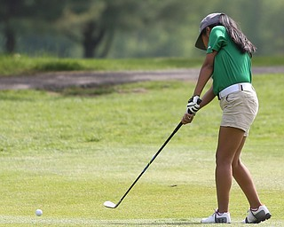 Gianna Effinite(U-17) chips on the 7th hole during the 2017 Vindicator Greatest Golfer Junior Qualifier, Saturday, May 20, 2017 at Pine Lakes Golf Course in Hubbard...(Nikos Frazier   The Vindicator)..