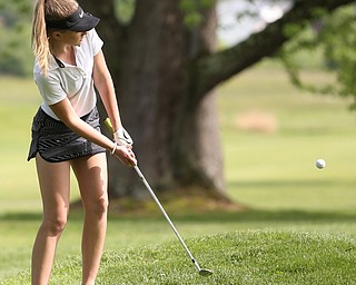 Jenna Jacobson(U-17) chips on the 7th hole during the 2017 Vindicator Greatest Golfer Junior Qualifier, Saturday, May 20, 2017 at Pine Lakes Golf Course in Hubbard...(Nikos Frazier   The Vindicator)..