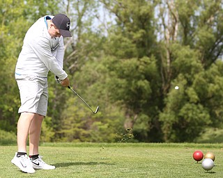 Joey Vitale(U-17) drives on hole 12 during the 2017 Vindicator Greatest Golfer Junior Qualifier, Saturday, May 20, 2017 at Pine Lakes Golf Course in Hubbard...(Nikos Frazier   The Vindicator)..