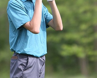 Justin Atkinson(U-17) ranges the hole on 14 during the 2017 Vindicator Greatest Golfer Junior Qualifier, Saturday, May 20, 2017 at Pine Lakes Golf Course in Hubbard...(Nikos Frazier   The Vindicator)..