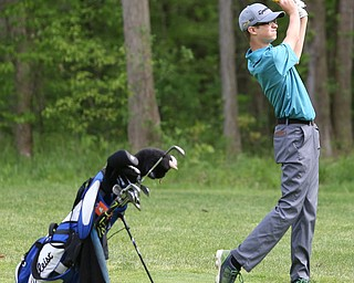 Justin Atkinson(U-17) chips the ball on the 14th hole during the 2017 Vindicator Greatest Golfer Junior Qualifier, Saturday, May 20, 2017 at Pine Lakes Golf Course in Hubbard...(Nikos Frazier   The Vindicator)..