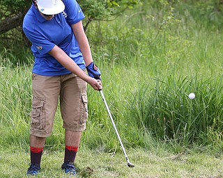 Michael Slifko(U-17) chips out of the rough on the 14th hole during the 2017 Vindicator Greatest Golfer Junior Qualifier, Saturday, May 20, 2017 at Pine Lakes Golf Course in Hubbard...(Nikos Frazier   The Vindicator)..