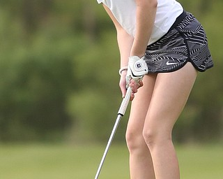 Jenna Jacobson(U-17) putts on the 15th hole during the 2017 Vindicator Greatest Golfer Junior Qualifier, Saturday, May 20, 2017 at Pine Lakes Golf Course in Hubbard...(Nikos Frazier   The Vindicator)..