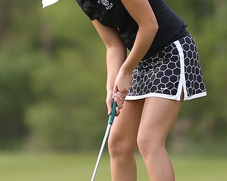 Britney Jonda(U-17) putts on the 15th hole during the 2017 Vindicator Greatest Golfer Junior Qualifier, Saturday, May 20, 2017 at Pine Lakes Golf Course in Hubbard...(Nikos Frazier   The Vindicator)..