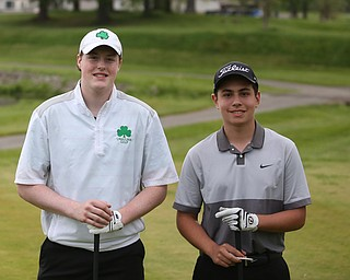 Andrew Murphy(left) and Brandon Cioffi during a playoff for first in the 2017 Vindicator Greatest Golfer Junior Qualifier, Saturday, May 20, 2017 at Pine Lakes Golf Course in Hubbard...(Nikos Frazier | The Vindicator)..