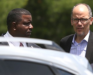 Democratic National Committee (DNC) chairman Tom Perez and Youngstown Mayor democratic candidate Tito Brown walk into Wedgewood Pizza, Friday, June 9, 2017 in Boardman. Perez visited Ohio two days after President Donald Trump spoke in Cincinnati, which Perez stopped in on Thursday...(Nikos Frazier | The Vindicator)