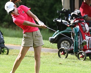 Leah Benson(U-14) drives on hole 13 during the Greatest Golfer of the Valley Junior Qualifier at Tam O'Shanter Golf Course, Thursday, June 15, 2017 in Hermitage...(Nikos Frazier | The Vindicator)