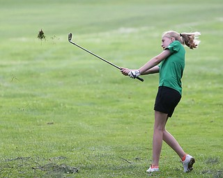 Mckenzie Gustas(U-14) chips on hole 13 during the Greatest Golfer of the Valley Junior Qualifier at Tam O'Shanter Golf Course, Thursday, June 15, 2017 in Hermitage...(Nikos Frazier | The Vindicator)