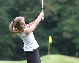 Gianna Myers(U-17) drives on hole 8 during the Greatest Golfer of the Valley Junior Qualifier at Tam O'Shanter Golf Course, Thursday, June 15, 2017 in Hermitage...(Nikos Frazier   The Vindicator)