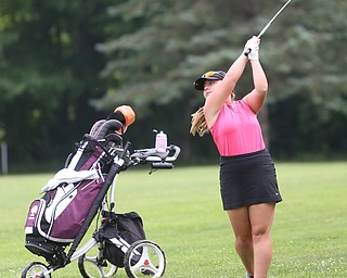 Olivia Taylor(U-17) chips the ball onto the green on hole 7 during the Greatest Golfer of the Valley Junior Qualifier at Tam O'Shanter Golf Course, Thursday, June 15, 2017 in Hermitage...(Nikos Frazier   The Vindicator)