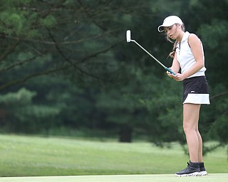 Britney Jonda(U-17) putts on hole 7 during the Greatest Golfer of the Valley Junior Qualifier at Tam O'Shanter Golf Course, Thursday, June 15, 2017 in Hermitage...(Nikos Frazier | The Vindicator)