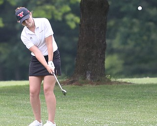 Jenna Vivo(U-17) chips the ball onto the green on hole 7 during the Greatest Golfer of the Valley Junior Qualifier at Tam O'Shanter Golf Course, Thursday, June 15, 2017 in Hermitage...(Nikos Frazier   The Vindicator)