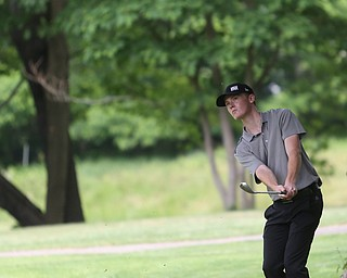 Keegan Butler(U-17) chips the ball onto the green on hole 6 during the Greatest Golfer of the Valley Junior Qualifier at Tam O'Shanter Golf Course, Thursday, June 15, 2017 in Hermitage...(Nikos Frazier | The Vindicator)