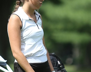 Britney Jonda(U-17) looks at her ball on hole 11 during the Greatest Golfer of the Valley Junior Qualifier at Tam O'Shanter Golf Course, Thursday, June 15, 2017 in Hermitage...(Nikos Frazier   The Vindicator)