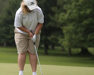 Erika Hoover(U-17) putts on hole 11 during the Greatest Golfer of the Valley Junior Qualifier at Tam O'Shanter Golf Course, Thursday, June 15, 2017 in Hermitage...(Nikos Frazier | The Vindicator)
