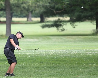 Cole Christman(U-17) chips the ball onto the green off on hole 1 during a playoff for first in the Greatest Golfer of the Valley Junior Qualifier at Tam O'Shanter Golf Course, Thursday, June 15, 2017 in Hermitage...(Nikos Frazier   The Vindicator)