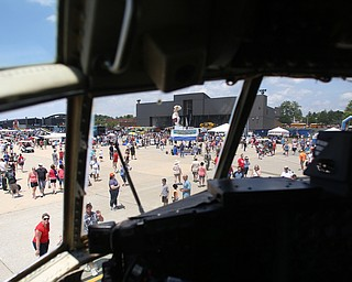 The crowd from the cockpit of a C-130H during the Thunder Over the Valley Air Show at the Youngstown Air Reserve Station, Saturday, June 17, 2017 in Vienna...(Nikos Frazier | The Vindicator)