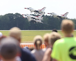 The U.S. Air Force Thunderbirds demonstration team takes off during the Thunder Over the Valley Air Show at the Youngstown Air Reserve Station, Saturday, June 17, 2017 in Vienna...(Nikos Frazier | The Vindicator)
