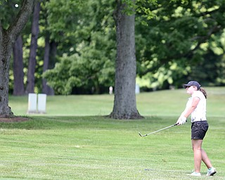 Gillian Cerimele chips on hole 15 during the Greatest Golfer of the Valley Junior Qualifier on the North Course at Mill Creek Golf Course, Wednesday, June 28, 2017 at Mill Creek Golf Course. ..(Nikos Frazier | The Vindicator)..