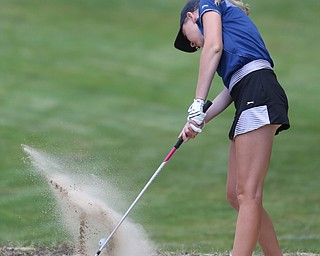 Jenna Jacobson chips out of a sand trap on hole 15 during the Greatest Golfer of the Valley Junior Qualifier on the North Course at Mill Creek Golf Course, Wednesday, June 28, 2017 at Mill Creek Golf Course. ..(Nikos Frazier | The Vindicator)..