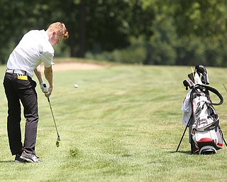 Keegan Butler chips on hole 11 during the Greatest Golfer of the Valley Junior Qualifier on the North Course at Mill Creek Golf Course, Wednesday, June 28, 2017 at Mill Creek Golf Course. ..(Nikos Frazier | The Vindicator)..