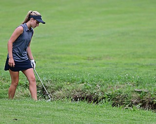 SALEM, OHIO - JULY 6, 2017: Gianna Myers of Poland search for her ball after hitting into a creek on her approach shot on the 14th hole during the Vindy Greatest Golfer qualifying round at Salem Hills Golf Course, Thursday afternoon. DAVID DERMER | THE VINDICATOR