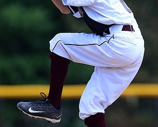 MICHAEL G TAYLOR | THE VINDICATOR-7-15-17  BASEBALL 8-10 yrs. Ohio D2 Championship- Boardman vs Canfield at Field of Dreams in Boardman, OH. 5th, Boardman's #7 Anthony Triveri fires a pitch homeward.