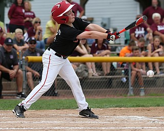 MICHAEL G TAYLOR | THE VINDICATOR-7-15-17  BASEBALL 8-10 yrs. Ohio D2 Championship- Boardman Spartans vs Canfield Cardinals at Field of Dreams in Boardman, OH. 1st,  Canfield's #8 Noah Anzevino batting.
