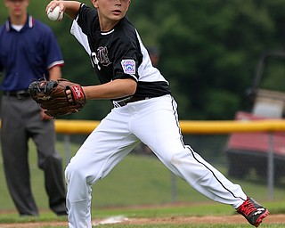 MICHAEL G TAYLOR | THE VINDICATOR-7-15-17  BASEBALL 8-10 yrs. Ohio D2 Championship- Boardman Spartans vs Canfield Cardinals at Field of Dreams in Boardman, OH. 1st,  Boardman's 3b #19 Mason Nawrocki fields the ball and throws the runner out.