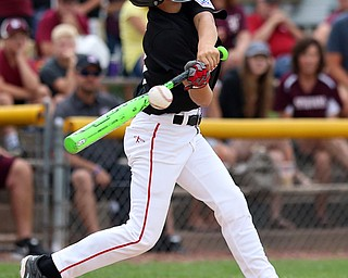MICHAEL G TAYLOR | THE VINDICATOR-7-15-17  BASEBALL 8-10 yrs. Ohio D2 Championship- Boardman Spartans vs Canfield Cardinals at Field of Dreams in Boardman, OH. 2nd, Canfield #10 Drew Snyder swings at a pitch