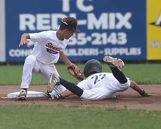 Baird Brothers pitcher Trey Pancake (22) slides into Brooklyn Bonnie Paws second baseman Samuel Urena (5) in the first inning as the Baird Brothers take on the Brooklyn Bonnie Paws in the 14u NABF World Series Championship, Sunday, July 16, 2017, at Cene Park in Struthers. Brooklyn won 2-0...(Nikos Frazier | The Vindicator)..