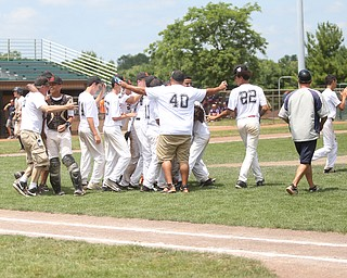 Brooklyn Bonnie Paws celebrate their victory in the 14u NABF World Series Championship after defeating the Baird Brothers, 2-0, Sunday, July 16, 2017, at Cene Park in Struthers. ..(Nikos Frazier | The Vindicator)..