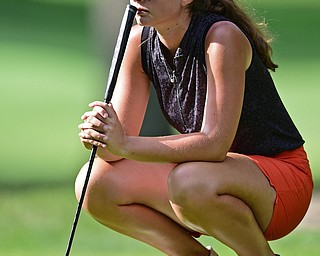 VIENNA, OHIO - JULY 21, 2017: Jenna Vivio lines up her shot on the 12th hole, Friday evening at Squaw Creek Country Club during round one of the 17u Vindicator's Greatest Golfer of the Valley Junior Tournament. DAVID DERMER | THE VINDICATOR