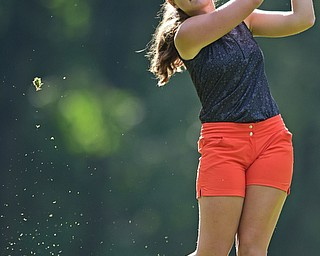 VIENNA, OHIO - JULY 21, 2017: Jenna Vivo tees off on the 13th hole, Friday evening at Squaw Creek Country Club during round one of the 17u Vindicator's Greatest Golfer of the Valley Junior Tournament. DAVID DERMER | THE VINDICATOR