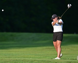 VIENNA, OHIO - JULY 21, 2017: Gillian Cerimele of Canfield tees off on the on the 16th hole, Friday evening at Squaw Creek Country Club during round one of the 17u Vindicator's Greatest Golfer of the Valley Junior Tournament. DAVID DERMER | THE VINDICATOR