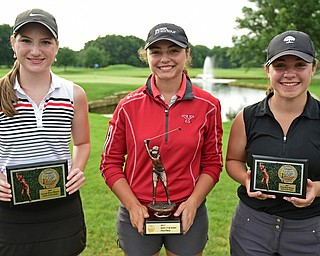 WARREN, OHIO - JULY 22, 2017: Hannah Keffler, right, Jenna Vivo, center, and Gillian Cerimele, right, pose for a picture with their awards, Saturday afternoon at the Vindicator's Greatest Golfer of the Valley Jr. Championship at Avalon Lakes. DAVID DERMER | THE VINDICATOR