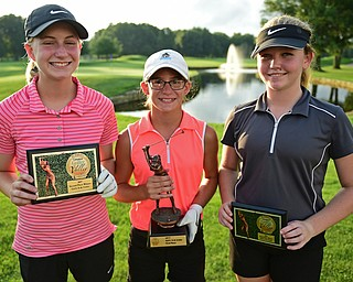 WARREN, OHIO - JULY 22, 2017: McKenzie Gustas, right, Leah Benson, center, Kyra Woods, right, pose for a picture with their awards, Saturday afternoon at the Vindicator's Greatest Golfer of the Valley Jr. Championship at Avalon Lakes. DAVID DERMER | THE VINDICATOR